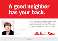 """A good neighborhas your back.Life's a combination of good days and bad. I haveyour back for both. And who has my back? Thecompany more people have trusted for 90 years.I'm here to help life go right."""" CALL ME TODAY.Schaefer Ins and Fin Svcs IncTerri Schaefer, Agent603 Lincoln HighwayRochelle, IL 61068State FarmBus: 815-562-7063Hablamos EsparolState FarmBloomington, IL1606039 A good neighbor has your back. Life's a combination of good days and bad. I have your back for both. And who has my back? The company more people have trusted for 90 years. I'm here to help life go right."""" CALL ME TODAY. Schaefer Ins and Fin Svcs Inc Terri Schaefer, Agent 603 Lincoln Highway Rochelle, IL 61068 State Farm Bus: 815-562-7063 Hablamos Esparol State Farm Bloomington, IL 1606039"""