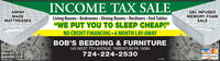 "SALE,INCOME TAXLiving Rooms  Bedrooms  Dining Rooms  Recliners  End Tables""WE PUT YOU TO SLEEP CHEAP!""NO CREDIT FINANCING 6 MONTH LAY-AWAYGEL INFUSEDAMISHMADEMATTRESSESMEMORY FOAMSALEBOB'S BEDDING & FURNITURE143 WEST 7TH AVENUE, TARENTUM PA 15084Hours:Saturday 11-4724-224-2530VISAoncV DEBIT SALE, INCOME TAX Living Rooms  Bedrooms  Dining Rooms  Recliners  End Tables ""WE PUT YOU TO SLEEP CHEAP!"" NO CREDIT FINANCING 6 MONTH LAY-AWAY GEL INFUSED AMISH MADE MATTRESSES MEMORY FOAM SALE BOB'S BEDDING & FURNITURE 143 WEST 7TH AVENUE, TARENTUM PA 15084 Hours: Saturday 11-4 724-224-2530 VISA oncV DEBIT"
