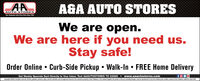 A&A AUTO STORESAUTO STrORESTour Hometown Aats Parts Stere Slaca 195We are open.We are here if you need us.Stay safe!Order OnlineCurb-Side Pickup  Walk-In  FREE Home DeliveryGet Weekly Specials Sent Directly to Your Inbox: Text AAAUTOSTORES TO 22828www.aaautostores.comCopyright C220. A rnights reserved. Al text, graphics, pictures, logos, and the selection and arrangement thereof is the exclusive property of the Publisher or its content Supplier. No portion of this ad, induding images, may be reproduced in any form without prier witten consent of the Publisher. Valid hru Aoril 30n A&A AUTO STORES AUTO STrORES Tour Hometown Aats Parts Stere Slaca 195 We are open. We are here if you need us. Stay safe! Order Online Curb-Side Pickup  Walk-In  FREE Home Delivery Get Weekly Specials Sent Directly to Your Inbox: Text AAAUTOSTORES TO 22828 www.aaautostores.com Copyright C220. A rnights reserved. Al text, graphics, pictures, logos, and the selection and arrangement thereof is the exclusive property of the Publisher or its content Supplier. No portion of this ad, induding images, may be reproduced in any form without prier witten consent of the Publisher. Valid hru Aoril 30n