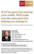 WELLSFARGOADVISORSA lot has gone into earningyour wealth. We'll makesure the same goes intohelping you manage it.Wealth Management | Investment Planning | RetirementJustin DoddsFinancial Advisor180 W. Continental Rd., Ste. 120Green Valley, AZ 85622Direct: 520-625-7470justin.r.dodds@wellsfargoadvisors.comhttps://home.wellsfargoadvisors.com/justin.r.doddsInvestment and Insurance Products:NOT FDIC Insured NO Bank Guarantee  MAY Lose ValueWells Fargo Advisors is a trade name used by Wells Fargo Clearing Services, LLC,Member SIPC, a registered broker-dealer and non-bank affiliate of Wells Fargo &Company. © 2015 Wells Fargo Clearing Services, LLC. All rights reserved.CAR-0120-016525 A1924 IHA-6661072 WELLS FARGO ADVISORS A lot has gone into earning your wealth. We'll make sure the same goes into helping you manage it. Wealth Management | Investment Planning | Retirement Justin Dodds Financial Advisor 180 W. Continental Rd., Ste. 120 Green Valley, AZ 85622 Direct: 520-625-7470 justin.r.dodds@wellsfargoadvisors.com https://home.wellsfargoadvisors.com/justin.r.dodds Investment and Insurance Products: NOT FDIC Insured NO Bank Guarantee  MAY Lose Value Wells Fargo Advisors is a trade name used by Wells Fargo Clearing Services, LLC, Member SIPC, a registered broker-dealer and non-bank affiliate of Wells Fargo & Company. © 2015 Wells Fargo Clearing Services, LLC. All rights reserved. CAR-0120-016525 A1924 IHA-6661072