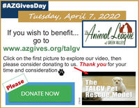 #AZGivesDayTuesday, April 7, 2020If you wish to benefit... Zgo towww.azgives.org/talgvAnimedimolLeagueof GREEN VALLEYClick on the first picture to explore our video, thenplease consider donating to us. Thank you for yourtime and consideration.TheTALGV PetRescue ModelPleaseDONATE NOW278640 #AZGivesDay Tuesday, April 7, 2020 If you wish to benefit... Z go to www.azgives.org/talgv Animed imolLeague of GREEN VALLEY Click on the first picture to explore our video, then please consider donating to us. Thank you for your time and consideration. The TALGV Pet Rescue Model Please DONATE NOW 278640