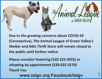 Animel LeTheagueof GREEN VALLEYDue to the growing concerns about COVID-19(Coronavirus), The Animal League of Green Valley'sShelter and Attic Thrift Store will remain closed tothe public until further notice.Please consider fostering (520-223-3955) oradopting by appointment (520-625-3170)Thank Youwww.talgv.org Facebook/talgv299827 Animel Le The ague of GREEN VALLEY Due to the growing concerns about COVID-19 (Coronavirus), The Animal League of Green Valley's Shelter and Attic Thrift Store will remain closed to the public until further notice. Please consider fostering (520-223-3955) or adopting by appointment (520-625-3170) Thank You www.talgv.org Facebook/talgv 299827