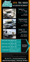 """GreatAlaskanHolidays IN A CERTIFIED PRE-OWNED RVOWN THE ROAD2018 ThorFour Winds22B$52,495$374*/monthGreatAlaskiHoliday2018 WinnebagoMinnie Winnie31K$65,595$467*/monthGreatAlaskinHolldays2020-'21WinnebagoTravel TrailersMicro Minnie& Hike ModelsGreatAlaskanHollday2018 Thor Four Winds 24F$56,595 
