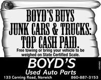 BOYD'S BUYSJUNK CARS& TRUCKS:TOP CASH PAID.Free towing or bring your vehicle to beweighed on State Certified Scale.BOYD'SUsed Auto Parts133 Corning Road, Norwich860-887-3153D854351 BOYD'S BUYS JUNK CARS& TRUCKS: TOP CASH PAID. Free towing or bring your vehicle to be weighed on State Certified Scale. BOYD'S Used Auto Parts 133 Corning Road, Norwich 860-887-3153 D854351