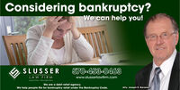Considering bankruptcy?We can help you!A SLUSSER570-453-0463www.slusserlawfirm.comLAW FIRMHAZLETON PHILADELPHIAWe are a debt relief agency.We help people file for bankruptcy relief under the Bankruptcy Code.Atty. Joseph R. Baranko Considering bankruptcy? We can help you! A SLUSSER 570-453-0463 www.slusserlawfirm.com LAW FIRM HAZLETON PHILADELPHIA We are a debt relief agency. We help people file for bankruptcy relief under the Bankruptcy Code. Atty. Joseph R. Baranko