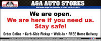 AGA AUTO STORESAUTO STORES850 Gordon Nagle Trail Pottsville, PA 17901  570-622-2815Teur Homatown Aute Parti Ster Slece 19SAWe are open.We are here if you need us.Stay safe!Order Online  Curb-Side Pickup  Walk-In  FREE Home DeliveryGet Weekly Specials Sent Directly to Your Inbox: Text AAAUTOSTORES TO 22828www.aaautostores.comCopyright c2020. A rights reserved. Al text, graphics, pictures, logos, and the selection and armangement thereof is the exdlusive property of the Publisher or its content Suppliec No portion of this ad, including images, may be reproduced in any form without prior written consent of the Publisher Valid tru April 30th AGA AUTO STORES AUTO STORES 850 Gordon Nagle Trail Pottsville, PA 17901  570-622-2815 Teur Homatown Aute Parti Ster Slece 19SA We are open. We are here if you need us. Stay safe! Order Online  Curb-Side Pickup  Walk-In  FREE Home Delivery Get Weekly Specials Sent Directly to Your Inbox: Text AAAUTOSTORES TO 22828 www.aaautostores.com Copyright c2020. A rights reserved. Al text, graphics, pictures, logos, and the selection and armangement thereof is the exdlusive property of the Publisher or its content Suppliec No portion of this ad, including images, may be reproduced in any form without prior written consent of the Publisher Valid tru April 30th