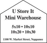 U Store ItMini Warehouse5x10  10x1010x20  10x301100 W. Market Street, Nappanee U Store It Mini Warehouse 5x10  10x10 10x20  10x30 1100 W. Market Street, Nappanee