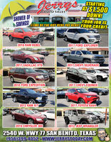 STARTINGAT $1.500DOWN!YOUR JOB ISBUY MEAUTO SALESSHOWER OFSAVINGS!HOME OF THE BUY HERE PAY HERE! YOUR CREDIT2016 RAM REBEL2017 FORD EXPLORER2017 CADILLAC XTS)2017 CHEVY, SILVERADO2010 FORD EXPEDITION2017 CHEVY EQUINOX2012 RAM R/T2017 TOYOTA'RAV4FREHI2019 CHRYSLER 3002012 JEEP.WRANGLER2540 W. HWY7 SAN BENITO, TEXAS(956)399-4052 WWW.JERRYSTODAYCOM STARTING AT $1.500 DOWN! YOUR JOB IS BUY ME AUTO SALES SHOWER OF SAVINGS! HOME OF THE BUY HERE PAY HERE! YOUR CREDIT 2016 RAM REBEL 2017 FORD EXPLORER 2017 CADILLAC XTS) 2017 CHEVY, SILVERADO 2010 FORD EXPEDITION 2017 CHEVY EQUINOX 2012 RAM R/T 2017 TOYOTA'RAV4 FREHI 2019 CHRYSLER 300 2012 JEEP.WRANGLER 2540 W. HWY7 SAN BENITO, TEXAS (956)399-4052 WWW.JERRYSTODAYCOM