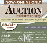 NOW-ONLINE ONLYAUCTIONRandolph County | Jackson Townshiphalderman.comBegin: April 21, 8:00 am | End: April 22, 6:45 pm89.84*+/-acres86.97+/- Tillable, 2.87+/- OtherChris Peacock: 765.546.0592 | Lauren Peacock: 765.546.7359OWNER: Richard and Judith KeltnerLAR NAAelobrating90FOUN HOUSNGOFFOErONItTLINDIANAAUKTIONASSOGATIONactioneerHALDERMANAuctioneer: Russell D. HarmeyerIN Auct. Lic. #AU10000277HRES IN Auct. Lic. #AC69200019HLS#LAP-12492 (20)YearsREAL ESTATE & FARM MANAGEMENT1930- 20800.424.2324 | www.halderman.com NOW-ONLINE ONLY AUCTION Randolph County | Jackson Township halderman.com Begin: April 21, 8:00 am | End: April 22, 6:45 pm 89.84* +/- acres 86.97+/- Tillable, 2.87+/- Other Chris Peacock: 765.546.0592 | Lauren Peacock: 765.546.7359 OWNER: Richard and Judith Keltner LAR NAA elobrating 90 FOUN HOUSNG OFFOErONItT LINDIANA AUKTION ASSOGATION actioneer HALDERMAN Auctioneer: Russell D. Harmeyer IN Auct. Lic. #AU10000277 HRES IN Auct. Lic. #AC69200019 HLS#LAP-12492 (20) Years REAL ESTATE & FARM MANAGEMENT 1930- 20 800.424.2324 | www.halderman.com