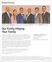 """Morgan StanleyThe MPW Group (L to R): Lance A. Walker, Famly Wealth Advisor, Senior Vice President, Financul Advisor, Jennifer R. Magnesen, CFP Financial Advisor, Ryan Magnesen, Senior Portfolio Manager,Vice President, Financal. Advinor. Scott K. Magnesen, Senior Portfolio Management Director, Managng Director-Wealth Management, Financal Advisor. Brett W. Proudfoot, Financial Advisor.Malcolm W. Proudfoot, CFP: Senior Portfolio Management Drector, Managing Drector-Wealth Management, Wealth AdvisorOur Family HelpingYour FamilyThe MPW Group at Morgan StanleyExperience, knowledge and success are at the heart of The MPW Group atMorgan Stanley. Our premiere service and advice are further enhanced by the2211 York Road, Suite 100consistency and longevity of our family business. We are a family of financialadvisors helping clients like you define and meet all of your retirement andOak Brook, IL 60523630-573-9694advisor.morganstanley.com/the-mpw-groupinvesting goals. That is the business of our family business.Scott Magnesen, with more than 37 years of experience, leads The MPW Groupat Morgan Stanley. He has been named to Barron's Top Financial Advisor lists,2005- 2018, Forbes Top Wealth Advisors, 2016-2019 and Forbes' Best-in-StateWealth Advisors, 2017-2019. His son Ryan Magnesen, a partner on the team, wasnamed by Forbes as one of America's Top 500 Next Generation Wealth Advisorsin 2017-2019. The team collectively manages portfolios worth more than$3.9 billion:Is your portfolio properly positioned to achieve your financial goals todayand into the future? Discover how our family can help your family.Contact us for a complimentary professional review.*As of December 31, 2019Certfed Financial Planner Board of Standards inc, owns the certification marks CFP CERTIFIED FINANCIAL PLANNER"""" and federally regstered CFP (with flame design) in the USSource: Forbes.com (Feb. 2019). America's Top Wealth Advisors: State-By Stateranking is based on quantitative and qualitative criteria. Fo"""