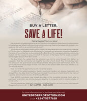 """""""BUY A LETTER,SAVE A LIFE!Feeling Hopeless? You're not alone!It is, no doubt, a frightening time for all.As Coronavirus ravages our cities, fears of contamination(of ourselves and others) and practicing social distancing make us feel especially limited in ourresponse. We want to do something. But what?This is not the first time in history that a community was faced with such a terrifying challenge.In 1752, the town of Mezibush was afflicted with a rampant and extremely contagious disease. Inthat time of incredible fear and uncertainty, The Baal Shem Tov was approached by communityleaders with the request to pray on behalf of the town in the hopes that he would succeed inbanishing the disease from their midst.The Baal Shem Tov replied that the salvation was not to come through him. Rather, hesuggested that the community join together to write a Torah Scroll. They immediately leaptinto action. As the quill moved across the parchment, filling the scroll with the holy words, thecommunity miraculously began to heal. From then on this special Sefer Torah was referred to asThe Miracle Worker'.Now, you have the opportunity to join in a similar project.In light of this global pandemic, Jewish community leaders are drawing inspiration andstrength from the Baal Shem Tov. They have initiated the writing of a Torah Scroll in the merit ofa speedy and complete recovery of all those affected.Over 80,000 individuals have already partaken in this incredible initiative. Each letter ispurchased by another Jew, binding everyone together in a singular scroll, a massive display ofJewish unity.You can secure your letter with a symbolic monetary donation, as much as your heart desires(Suggested donation: $2 + ). BUY A LETTER - SAVE A LIFE!For more information and to purchase your letter visit:UNITEDFORPROTECTION.COMor call: +1.647.557.7618 """" BUY A LETTER, SAVE A LIFE! Feeling Hopeless? You're not alone! It is, no doubt, a frightening time for all.As Coronavirus ravages our cities, fears of """