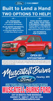 """Ford FORD CREDITBuilt to Lend a HandTWO OPTIONS TO HELP!- #1 -- #2 -0% FINANCINGUP TO 84 MONTHSFORD MOTOR CREDITWILL MAKE YOUR FIRSTon remaining 2019 ModelsPLUS DEFER PAYMENTS,UP TO 3 MONTHS,3 PAYMENTS AND DEFERYOUR NEXT 3 PAYMENTS2020 Models, Super Duty Trucks &High Performance models excluded!""""on 2019 New Model PurchaseNO PAYMENTSFOR 6 MONTHS!or 2020 New Model LeaseOPEN BYAPPOINTMENT""""All ofers exdude Superduty & Performance models & require financing through Ford Motor Credit. Offers good while supplies last & expireApril 30, 2020. - O% up to 84 months, with approved credit, on remaining new 2019 models, plus payment deferment aalable up to 90 days.90 Payment Delerment, also, available on new 2020 model lease. 2 - Ford Motor Credit wil make your first 3 payments & deler payments up toanother 90 days, on new 2020 models.Muscatell BurnsHawley, MNFordGET YOUR NEXT FORD FROM WARD!MUSCATELL-BURNS FORDJUST 20 MINUTES FROM MOORHEADHIGHWAY 10 - HAWLEY - (218) 483-3356muscatellburnsford.com Ford FORD CREDIT Built to Lend a Hand TWO OPTIONS TO HELP! - #1 - - #2 - 0% FINANCING UP TO 84 MONTHS FORD MOTOR CREDIT WILL MAKE YOUR FIRST on remaining 2019 Models PLUS DEFER PAYMENTS, UP TO 3 MONTHS, 3 PAYMENTS AND DEFER YOUR NEXT 3 PAYMENTS 2020 Models, Super Duty Trucks & High Performance models excluded!"""" on 2019 New Model Purchase NO PAYMENTS FOR 6 MONTHS! or 2020 New Model Lease OPEN BY APPOINTMENT """"All ofers exdude Superduty & Performance models & require financing through Ford Motor Credit. Offers good while supplies last & expire April 30, 2020. - O% up to 84 months, with approved credit, on remaining new 2019 models, plus payment deferment aalable up to 90 days. 90 Payment Delerment, also, available on new 2020 model lease. 2 - Ford Motor Credit wil make your first 3 payments & deler payments up to another 90 days, on new 2020 models. Muscatell Burns Hawley, MN Ford GET YOUR NEXT FORD FROM WARD! MUSCATELL-BURNS FORD JUST 20 MINUTES FROM MOORHEAD HIGHWAY 10 - HAWLEY - (218) 4"""