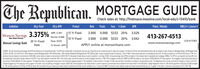 """The Republican.MORTGAGE GUIDECheck rates at: http://findnsave.masslive.com/local-ads/c-13410/bankPhone /WebsiteRate Points Fees % Dewn3.000 0.000 $333 20% 3.0293.000 0.000 $333 20% 3.042Institution30 yr Fized30 yr APRProductAPRNMLS + / LicenseAPR: 3.391Points: 0.000Fees: $333% Down: 20%
