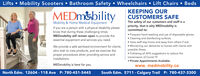 Lifts  Mobility Scooters  Bathroom Safety  Wheelchairs  Lift Chairs  BedsKEEPING OURCUSTOMERS SAFEThe safety of our customers and staff is apriority, that is why MEDmobility iscommitted to: Frequent hand-washing and use of disposable gloves. Cleaning and disinfecting surfaces. Have staff stay home and away from others if sick. Monitoring our deliveries to homes with clients withpossible illness. Following all AHS suggestions to reduce thetransmission of Covid-19 Private Appointments Available.www.medmobility.caMEDM&bilityMobility & Home Medical EquipmentIf you are a person with a physical disability pleaseknow that during these challenging timesMEDmobility will remain open to provide theessential equipment and services you need.We provide a safe sanitized environment for clientswho wish to view products, and we exercise theproper procedures when providing service andinstallations.MEDmobility is here for you.North Edm. 12604 - 118 Ave P: 780-451-5445South Edm. 5711 - Calgary Trail P: 780-437-3300 Lifts  Mobility Scooters  Bathroom Safety  Wheelchairs  Lift Chairs  Beds KEEPING OUR CUSTOMERS SAFE The safety of our customers and staff is a priority, that is why MEDmobility is committed to:  Frequent hand-washing and use of disposable gloves.  Cleaning and disinfecting surfaces.  Have staff stay home and away from others if sick.  Monitoring our deliveries to homes with clients with possible illness.  Following all AHS suggestions to reduce the transmission of Covid-19  Private Appointments Available. www.medmobility.ca MEDM&bility Mobility & Home Medical Equipment If you are a person with a physical disability please know that during these challenging times MEDmobility will remain open to provide the essential equipment and services you need. We provide a safe sanitized environment for clients who wish to view products, and we exercise the proper procedures when providing service and installations. MEDmobility is here for you. North Edm. 12604 - 118 Ave P: 780-451-5445