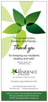 """""""To our associates,families, and friends -Thank youfor keeping our residentshealthy and safe.""""Michael A. Stoller, CEoLCB Senior LivingTHEXRESIDENCEat Ferry ParkAn LCB Senior Living CommunityAssisted Living & Memory Care60 Cold Spring Road, Rocky Hill860-785-2787 
