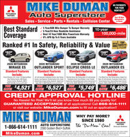 """MIKE DUMANAuto SuperstoreNO PAYMENTSFOR FOURMONTHS!!!!MITSUBISHIMOTORSOver 60 NewMitsubishi'sIn StockDrive your AmbitionSales  Service Parts  Rentals  Collision CenterBest StandardCoverageRanked #1 In Safety, Reliability & Value5 Year/60K Mile Bumper To Bumper Warranty/ 5 Year/24 Hour Roadside Assistance/ Best 10 Year/100K Mile Powertrain Warranty/ 0% APR Up To 6 Years Available10-year100,000-milePOWERTRAIN LIMITED WARRANTY2019. TOPSAFETYIIHSPICK+$153 80$24090$27692$24609per monthper monthper monthper month2020 MITSUBISHI2020 MITSUBISHIOUTLANDER ESStandard FeaturesInclude:2020 MITSUBISHIMIRAGE ESStandard Features2020 MITSUBISHIOUTLANDER SPORT ECLIPSE CROSS LEStandard FeaturesInclude:Blind Spot Sensor, Rear Parking Camera, AC with AutomaticTemperature Control, Power Windows, Cruise, ProximityKeyless Entry. Steering Wheel Audio Controls, Android Auto &Apple CarPlay, #M242, MSRP S28,175, As low as $22,426Standard FeaturesInclude:Power Windows, A/C, Cruise, Tilt Steering Wheel,Rear Parking Camera, ABS Brakes,Traction Control, Bluetooth, #M247,Include:A/C with Automatic Temperature Control, Rear ParkingCamera, Lane Departure, Remote Keyless Entry. Cruise,Android Auto & Apple CarPlay, Bluetooth, Heated FrontSeats, #M173, MSRP $26,050, As low as $19,523YOUSAVE!Front Wheel Drive, Rear Parking Camera, Heated FrontSeats, A/C with Automatic Temperature Control, Seats 7,Remote Keyless Entry, Steering Wheel Audio Controls,Bluetooth, #M253, MSRP $26,430, As low as $19.944MSRP $16,985, As low as $12,464$4,521$6,527YOUSAVE!$5,749YOUSAVE!$6,486SAVE!CREDIT APPROVAL HOTLINENo Hassle! No Risk! We'll let you know how much $$ you quality for!GUARANTEED ACCEPTANCE of all applications! Call 866-614-1111or visit our website: MikeDuman.com to fill out an application!MIKE DUMANWHY PAY MORE?SINCE 1980MITSUBISHIMOTORS1-866-614-1111 2300 Godwin Blvd SufolkAUTO SUPERSTORE The """"Du-Man"""" Can!Drive your AmbitionMikeDuman.com*SALE PRICES EXPIRE 5 DAYS FROM PUBLICATION. SALE PRICES INCLUDE APPLICATION """