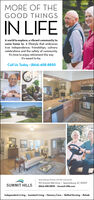 MORE OF THEGOOD THINGSIN LIFEA world to explore, a vibrant community tocome home to. A lifestyle that embracestrue independence, friendships, culinarycelebrations and the safety of community.It's time to enjoy retirement the wayit's meant to be.Call Us Today · (864) 408-8850Spartanburgis Premier Life Plan Community110 Summit Hills Drive · Spartanburg. SC 29307(864) 408-8850 · Summit-Hills.comSUMMIT HILLSIndependent Living · Assisted Living  Memory Care · Skilled Nursing · Rehab MORE OF THE GOOD THINGS IN LIFE A world to explore, a vibrant community to come home to. A lifestyle that embraces true independence, friendships, culinary celebrations and the safety of community. It's time to enjoy retirement the way it's meant to be. Call Us Today · (864) 408-8850 Spartanburgis Premier Life Plan Community 110 Summit Hills Drive · Spartanburg. SC 29307 (864) 408-8850 · Summit-Hills.com SUMMIT HILLS Independent Living · Assisted Living  Memory Care · Skilled Nursing · Rehab