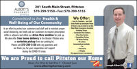 a201 South Main Street, PittstonALBERT'SPHARMACY570-299-5150  Fax: 570-299-5155get well soonWe Offer:v Easy Rx Transfers. Just Call!v Order Refills by Automated Phone24 hours a day, by email or on-line.v Most Major Insurances Accepted,Including Tricarev Convenient Free DeliveryV Drive-thru Servicev Competitive Pricing/ Off Street ParkingPA LotteryImmunizations Available/ FluV Pneumoniav ShinglesNo appointment necessaryCommitted to the Health &Well-Being of Our CommunityIn an effort to protect our customers and staff and to maintain propersocial distancing, we kindly ask our customers to request prescriptionrefills in advance and utilize our drive-thru window for pick up.We also offer free home delivery to the Greater Pittston areaor curbside pickup from our parking lot.Please call 570-299-5150 with any questions andwe thank you for your cooperation and supportduring the COVID-19 crisis.We are Proud to call Pittston our HomeWINNERMon.-Fri. 9 to 6; Sat 9 to 1 Closed Sunwww.albertspharmacy.comTHE BEST FJoseph Albert R.Ph f2018 a 201 South Main Street, Pittston ALBERT'S PHARMACY 570-299-5150  Fax: 570-299-5155 get well soon We Offer: v Easy Rx Transfers. Just Call! v Order Refills by Automated Phone 24 hours a day, by email or on-line. v Most Major Insurances Accepted, Including Tricare v Convenient Free Delivery V Drive-thru Service v Competitive Pricing / Off Street Parking PA Lottery Immunizations Available / Flu V Pneumonia v Shingles No appointment necessary Committed to the Health & Well-Being of Our Community In an effort to protect our customers and staff and to maintain proper social distancing, we kindly ask our customers to request prescription refills in advance and utilize our drive-thru window for pick up. We also offer free home delivery to the Greater Pittston area or curbside pickup from our parking lot. Please call 570-299-5150 with any questions and we thank you for your cooperation and support during the COVID-19 crisis. We are Proud to call Pittston