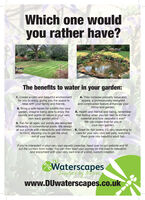 Which one wouldyou rather have?The benefits to water in your garden:1. Create a calm and beautiful environmentfor you to enjoy, giving you the space torelax with your family and friends.4. They increase property value andappeal, a professionally designedand constructed feature enhances yourhome and garden.2. Bring a safe haven for wildlife into yourgarden, imagine being able to enjoy thesounds and sights of nature in your veryown back garden pond.5. Health and mental well being, rememberthat feeling when you sat next to a river orwaterfall and how peaceful it was?We can create that for you inyour own garden.3. Fun for all ages, our ponds are designeddifferently to conventional pools. We designall our ponds with interactivity and children 6. Great for fish lovers, it's very rewarding toin mind, allowing you to get the mostout of your feature.care for your very own wet pets, watchingthem grow into beautiful adult fish.If you're interested in your very own aquatic paradise, head over to our website and fillout the contact form today. You can then start your journey on the road to relaxationand enjoyment with your very own one of a kind, custom creation.Waterscapesby NattuveInspiredwww.DUwaterscapes.co.uk Which one would you rather have? The benefits to water in your garden: 1. Create a calm and beautiful environment for you to enjoy, giving you the space to relax with your family and friends. 4. They increase property value and appeal, a professionally designed and constructed feature enhances your home and garden. 2. Bring a safe haven for wildlife into your garden, imagine being able to enjoy the sounds and sights of nature in your very own back garden pond. 5. Health and mental well being, remember that feeling when you sat next to a river or waterfall and how peaceful it was? We can create that for you in your own garden. 3. Fun for all ages, our ponds are designed differently to conventional pools. We design all our ponds with interactivity and children 6. Great f
