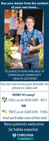 See your doctor from the comfortof your own home...TELEHEALTH NOW AVAILABLE ATCHIRICAHUA COMMUNITYHEALTH CENTERS!You can now access your provider viaphone or video callHOW? It's easy!CALL us at (520) 459 - 3011ORa TEXT us at (520) 678 - 7356And we'll take care of the rest!New patients welcomeSe habla español.CHIRICAHUACOMMUNTY HEALIH CENIERS NC.HEALTH FOR ALL See your doctor from the comfort of your own home... TELEHEALTH NOW AVAILABLE AT CHIRICAHUA COMMUNITY HEALTH CENTERS! You can now access your provider via phone or video call HOW? It's easy! CALL us at (520) 459 - 3011 OR a TEXT us at (520) 678 - 7356 And we'll take care of the rest! New patients welcome Se habla español. CHIRICAHUA COMMUNTY HEALIH CENIERS NC. HEALTH FOR ALL