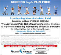 "KEEPING People PAIN FREEExperiencing Musculoskeletal Pain?Consultation and Exam SPECIAL $29 ($300 Value)The Advanced Pain Relief Institute's goal at this timeis to provide Medically Necessary Essential Servicesto patients that are suffering with pain.Chiropractic Clinics are Essential!!!We are OPEN and look forward to serving your needs!CHIROPRACTIC PHYSICIAN SERVICES ARE ESSENTIAL SERVICES UNDER FEDERAL CISA ADVISORY AND ILLINOIS ""STAY AT HOME ORDER""[UPDATED 3/31/2020]Governor Pritzker has extended the ""Stay at Home Order"" to April 30, 2020. This applies to all Illinoisans but makes exceptions for persons who provide and use essentialservices. Therefore, Chiropractic Physicians can treat patients and patients can visit our offices.Throughout this process, the Ilinois Chiropractic Society has advocated that Chiropractic care is extremely important to the health care of patients andin the current COVID-19 environment, Chiropractic care is essential for musculoskeletal pain patients. In the absence of Chiropractic Doctors, thesepatients would need to turn to emergency rooms, which would tax an already over-burdened system who may not even be able to serve them or theywould turn to non-contact treatment such as opioids and other addictive medications, resulting in increased opioid use disorder cases.CALL 224-302-6075 TO RESERVE YOUR APPOINTMENT TODAY!!Dr. Jeffery Wells, DCtheADVANCEDPAIN RELIEFinstitute2450 E. Grass Lake Road, Suite DLindenhurst, IL 60046224-302-6075www.wellsfamilychiro.com KEEPING People PAIN FREE Experiencing Musculoskeletal Pain? Consultation and Exam SPECIAL $29 ($300 Value) The Advanced Pain Relief Institute's goal at this time is to provide Medically Necessary Essential Services to patients that are suffering with pain. Chiropractic Clinics are Essential!!! We are OPEN and look forward to serving your needs! CHIROPRACTIC PHYSICIAN SERVICES ARE ESSENTIAL SERVICES UNDER FEDERAL CISA ADVISORY AND ILLINOIS ""STAY AT HOME ORDER"" [UPDATED 3/31/2020] Governor Pritzker has extended the ""Stay at Home Order"" to April 30, 2020. This applies to all Illinoisans but makes exceptions for persons who provide and use essential services. Therefore, Chiropractic Physicians can treat patients and patients can visit our offices. Throughout this process, the Ilinois Chiropractic Society has advocated that Chiropractic care is extremely important to the health care of patients and in the current COVID-19 environment, Chiropractic care is essential for musculoskeletal pain patients. In the absence of Chiropractic Doctors, these patients would need to turn to emergency rooms, which would tax an already over-burdened system who may not even be able to serve them or they would turn to non-contact treatment such as opioids and other addictive medications, resulting in increased opioid use disorder cases. CALL 224-302-6075 TO RESERVE YOUR APPOINTMENT TODAY!! Dr. Jeffery Wells, DC the ADVANCED PAIN RELIEF institute 2450 E. Grass Lake Road, Suite D Lindenhurst, IL 60046 224-302-6075 www.wellsfamilychiro.com"