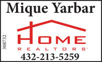 Mique YarbarHOMERE A LT O R S432-213-5259308732 Mique Yarbar HOME RE A LT O R S 432-213-5259 308732