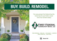 BUY. BUILD. REMODEL.For every phase First Federal has thehome loan for you! Call or emailone of our lenders today!I FIRST FEDERALSTCOMMUNITY BANK, SSBPARIS DOWNTOWN I PARIS LOOP | MT. PLEASANT I CLARKSVILLEwww.FFCBANK.COM | NMLS# 402549Member FDICLENDER BUY. BUILD. REMODEL. For every phase First Federal has the home loan for you! Call or email one of our lenders today! I FIRST FEDERAL ST COMMUNITY BANK, SSB PARIS DOWNTOWN I PARIS LOOP | MT. PLEASANT I CLARKSVILLE www.FFCBANK.COM | NMLS# 402549 Member FDIC LENDER