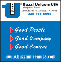 |®Buzzi Unicem USAMaryneal Plant202 CR 306 Maryneal, TX 79535325-766-6068DGood PeopleDGood CompanyDGood Cementwww.buzziunicemusa.comIZZna |®Buzzi Unicem USA Maryneal Plant 202 CR 306 Maryneal, TX 79535 325-766-6068 DGood People DGood Company DGood Cement www.buzziunicemusa.com IZZna