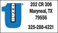 202 CR 306Maryneal, TX79556325-288-4221 202 CR 306 Maryneal, TX 79556 325-288-4221