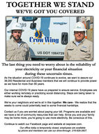 TOGETHER WE STANDWE'VE GOT YOU COVEREDWORSAMACrow WingPOWERUS DOT 1064729The last thing you need to worry about is the reliability ofyour electricity or your financial situationduring these uncertain times.As the situation around COVID-19 continues to evolve, we want to assure our38,000 Residential and Business members that we will continue to provide poweras we have for more than 80 years.Our internal COVID-19 plans have us prepared to ensure service. Employees areeither working remotely or practicing social distancing. Steps are being taken tomake sure we're always ready.We're your neighbors and we're all in this together. We care - We realize that theweeks to come could potentially lead to some financial hardships.Contact us if you are worried about paying your bill. Programs are available andwe have a list of community resources that can help. Since you and your familymay be home more, you're going to use more electricity. Be conscious of this.Continue to watch our Facebook page and website at cwpower.com.Our office lobby is temporarily closed, employees are availableby phone and members can use our drive-through. 218-829-2827. TOGETHER WE STAND WE'VE GOT YOU COVERED WORSA MA Crow Wing POWER US DOT 1064729 The last thing you need to worry about is the reliability of your electricity or your financial situation during these uncertain times. As the situation around COVID-19 continues to evolve, we want to assure our 38,000 Residential and Business members that we will continue to provide power as we have for more than 80 years. Our internal COVID-19 plans have us prepared to ensure service. Employees are either working remotely or practicing social distancing. Steps are being taken to make sure we're always ready. We're your neighbors and we're all in this together. We care - We realize that the weeks to come could potentially lead to some financial hardships. Contact us if you are worried about paying your bill. Programs are available and we have a list of community resources that can help. Since you and your family may be home more, you're going to use more electricity. Be conscious of this. Continue to watch our Facebook page and website at cwpower.com. Our office lobby is temporarily closed, employees are available by phone and members can use our drive-through. 218-829-2827.