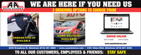 WE ARE HERE IF YOU NEED USAUTO STORESTour Hemetewn kute Parti Stere Slace 19383 ORDERING OPTIONS TO CHOOSE FROMAUTFREE ANHOME DELIVERYORDER ONLINECURBSIDE PICK-UPAVAILABLESHIP TO HOMESHIP TO STOREAVAILABLEwww.aaautostores.com4630 Broadway St. Allentown (610) 391-9660  www.aaautostores.com  2301 Union Blvd. Allentown (610) 821-0303TO ALL OUR CUSTOMERS, EMPLOYEES & FRIENDS: STAY SAFE WE ARE HERE IF YOU NEED US AUTO STORES Tour Hemetewn kute Parti Stere Slace 1938 3 ORDERING OPTIONS TO CHOOSE FROM AU T FREE AN HOME DELIVERY ORDER ONLINE CURBSIDE PICK-UP AVAILABLE SHIP TO HOME SHIP TO STORE AVAILABLE www.aaautostores.com 4630 Broadway St. Allentown (610) 391-9660  www.aaautostores.com  2301 Union Blvd. Allentown (610) 821-0303 TO ALL OUR CUSTOMERS, EMPLOYEES & FRIENDS: STAY SAFE