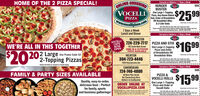 HOME OF THE 2 PIZZA SPECIAL!ONLINE ORDERINGVOCELLICarryout or Delivery  7 Days a WeekHUNGERBUSTEROne Large 1-ToppingPizza, Any House BakedSub, Order of BreadsticksOR Breadstick Bites& 2-Liter SodaVOCELLI504$25 99PIZZAWww.wecellipizza.co)TIADITOL OR THN CRUST ONNot valid with any other offer. One coupon per order.Please mention coupon when ordering. Delivery aras and chayes may vary.Vald only at participating stores LIMITED TIME OFER7 Days a WeekLunch and DinnerCarryout or Delivery  7 Days a WeekVOCELLI512WASHINGTONVOCELLICAFENOWOPEN724-229-7717 PIZZA AND STIX$1699WE'RE ALL IN THIS TOGETHER$2020202 Large Use Promo Code 522-Topping Pizzas192 South Main StreetDINE IN & OUTDOORPATIO AVAILABLEWEIRTON304-723-4446One Large 2-ToppingPizza and Orderof Breadsticks ORBreadstick BitesTRADITIONAL OR THN ORUST ONLYNot validwhany other offer. One capon per order.Please mention coupon when ordering. Deery aa ind tharges may vary.Vald only at participating stores. LIMTED TME OFFER1925 Pennsylvania AveChicken and Sheak are charged aa dole pingCANONSBURGCarryout or Delivery  7 Days a Week508724-746-4800VOCLLIFAMILY & PARTY SIZES AVAILABLEPIZZA &VOCELLI ROLLS$159930 West Pike StreetOur Canonsburg StoreDelivers to SouthpointeQuality, easy-to-order,delicious food - PerfectORDER ONLINE ATVOCELLIPIZZA.cOMOne Large 1-ToppingPizza and Order ofVocelli Rollsfor family, sportsTRADITONAL OR THN CRUST ONY02020 ocell Pa Lnited delivery ana Delivery amas andNot valid with any oether offer. One coupon per arder.Pesse mention coupon when ardering Delivery areas and charpes may vary.Valid only at partcipeting stores. LiMITED TIME OFFÉRspecials Limited time offer at participating stres HOME OF THE 2 PIZZA SPECIAL! ONLINE ORDERING VOCELLI Carryout or Delivery  7 Days a Week HUNGER BUSTER One Large 1-Topping Pizza, Any House Baked Sub, Order of Breadsticks OR Breadstick Bites & 2-Liter Soda VOCELLI 504 $25 99 PIZZA Www.wecellipizza.co) TIADITOL OR THN CRUST ON Not valid with any other offer. One coupon p