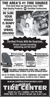 THE AREA'S #1 TIRE SOURCETires have been our business since 1965!High Quality Products e Certified TechniciansBE SUREYOURVEHICLEIS READYFORSPRINGDRIVING!The Best Prices With No Surprises.Prices include mounting,balancing,out the door!FrestoneFrestoneUGHT TRUCK / SUV ALL-TERRAINDESTINATION A/TEnhanced traction in deepmud and snowAdapts to travel in wet ordry weatherTuned for a smooth andQuiet rideALL SEASON PERFORMANCECHAMPIONFuel Fighter Technology offersimproved roling restance, whichhelps increase fuel effceincy, ascompared to the Fiestone AfinityTouring tire.CALL OR STOPFOR COMPETITIVE70,000CALL OR STOP FORCOMPETITIVEOUT-THE-DOOR PRICESOUT-THE-DOORPRICESASK ABOUT A BRIDGESTONE CREDIT CARD - 6 MONTHPROMOTIONAL PAYMENT PLAN WITH APPROVED CREDITSee Us For Brakes, Shocks, Struts, Alignments, and CompleteSuspension System Service, As Well As Tires & Wheels.www.cadillactirecenter.comCadillacTIRE CENTERSouth U.S.-131  Cadillac  231-775-7382OPEN: Mon.-Fri. 7:30 am-5:30 pm, Sat. 8 am-1 pm THE AREA'S #1 TIRE SOURCE Tires have been our business since 1965! High Quality Products e Certified Technicians BE SURE YOUR VEHICLE IS READY FOR SPRING DRIVING! The Best Prices With No Surprises. Prices include mounting, balancing,out the door! Frestone Frestone UGHT TRUCK / SUV ALL-TERRAIN DESTINATION A/T Enhanced traction in deep mud and snow Adapts to travel in wet or dry weather Tuned for a smooth and Quiet ride ALL SEASON PERFORMANCE CHAMPION Fuel Fighter Technology offers improved roling restance, which helps increase fuel effceincy, as compared to the Fiestone Afinity Touring tire. CALL OR STOP FOR COMPETITIVE 70,000 CALL OR STOP FOR COMPETITIVE OUT-THE-DOOR PRICES OUT-THE-DOOR PRICES ASK ABOUT A BRIDGESTONE CREDIT CARD - 6 MONTH PROMOTIONAL PAYMENT PLAN WITH APPROVED CREDIT See Us For Brakes, Shocks, Struts, Alignments, and Complete Suspension System Service, As Well As Tires & Wheels. www.cadillactirecenter.com Cadillac TIRE CENTER South U.S.-131  Cadillac  231-775-7382 OPEN: 