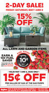 2-DAY SALE!FRIDAY-SATURDAY, MAY 1 AND 215%OFFALL LAWN AND GARDEN ITEMSSAVERFUELEARNEARN A10¢ FUELSAVER10FOR EVERY $15 YOUOFFPERSPEND ON PRODUCEGALLONAND HEALTHMARKET-LUS02- VALID MAY 1 AND 2, 2020 ONLY -15¢ OFFPER GALLON OF GAS AT THE GAS PUMPSValud May 1 and 2, 2020 only. Must redeem inside gas station. With coupon. 1 per person. 20 pal limit.HuVec 1300 W BURLINGTON AVE, FAIRFIELD | 641-472-4119528 SOUTH, IA-1, WASHINGTON, IOWA | 319-653-5406 2-DAY SALE! FRIDAY-SATURDAY, MAY 1 AND 2 15% OFF ALL LAWN AND GARDEN ITEMS SAVER FUEL EARN EARN A 10¢ FUEL SAVER 10 FOR EVERY $15 YOU OFF PER SPEND ON PRODUCE GALLON AND HEALTHMARKET -LUS02 - VALID MAY 1 AND 2, 2020 ONLY - 15¢ OFF PER GALLON OF GAS AT THE GAS PUMPS Valud May 1 and 2, 2020 only. Must redeem inside gas station. With coupon. 1 per person. 20 pal limit. HuVec 1300 W BURLINGTON AVE, FAIRFIELD | 641-472-4119 528 SOUTH, IA-1, WASHINGTON, IOWA | 319-653-5406