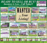READY TO SELL OR BUY? SSAYLORInventory is Low..Call Today!!!REALTY LLC641-342-2141www.SAYLORREALTYOSCEOLA.COMWANTEDSOLD SOLID.SOLDSOLD1320 LAKEVIEW1269 GREEN ACRES... Your1266 GREEN ACRESLOT 880 BEL AIRSOLD SOLIDSOLD SOLDListing!3078 SOUTHSHORE3340 INDIAN HILLS3198 OVERLAND TRAIL3200 OVERLAND TRAILSOLDSOLDSOLDSOLDSOLD126 GRANT, OSCEOLA139 A. KNOX TOWNSHIP, CLARKE COUNTY2952 ROBIN, NEW VIRGINIA116 N. DELAWARE2953 ROBIN, NEW VIRGINIASOLD SOLDSOLD SOLDSOLD1155 STARLINE, OSCEOLA1200 N. MAIN, OSCEOLA320 E. ALLISON, OSCEOLA1001 PARK LANE, OSCEOLA115 W. GRANT, OSCEOLAHelenSaylor-KimesGRUCRSBroker Owner641-340-0I8IBetty CraigManaging Beeker641-340-4198Jan Van WinkleBroker Associate641-340-5803Cherri VasSun Valley641-340-1289S SAYLORDentis Kelley641-414-260Clint AndersonPam Sorensen641-342-0622641-772-8864REALTY LLC641-342-2141320 West McLane - Osceola - 641-342-2141 or 641-342-2222 -helenkimes@iowatelecom.net READY TO SELL OR BUY? SSAYLOR Inventory is Low..Call Today!!! REALTY LLC 641-342-2141 www.SAYLORREALTYOSCEOLA.COM WANTED SOLD SOLID. SOLD SOLD 1320 LAKEVIEW 1269 GREEN ACRES ... Your 1266 GREEN ACRES LOT 880 BEL AIR SOLD SOLID SOLD SOLD Listing! 3078 SOUTHSHORE 3340 INDIAN HILLS 3198 OVERLAND TRAIL 3200 OVERLAND TRAIL SOLD SOLD SOLD SOLD SOLD 126 GRANT, OSCEOLA 139 A. KNOX TOWNSHIP, CLARKE COUNTY 2952 ROBIN, NEW VIRGINIA 116 N. DELAWARE 2953 ROBIN, NEW VIRGINIA SOLD SOLD SOLD SOLD SOLD 1155 STARLINE, OSCEOLA 1200 N. MAIN, OSCEOLA 320 E. ALLISON, OSCEOLA 1001 PARK LANE, OSCEOLA 115 W. GRANT, OSCEOLA Helen Saylor-Kimes GRUCRS Broker Owner 641-340-0I8I Betty Craig Managing Beeker 641-340-4198 Jan Van Winkle Broker Associate 641-340-5803 Cherri Vas Sun Valley 641-340-1289 S SAYLOR Dentis Kelley 641-414-260 Clint Anderson Pam Sorensen 641-342-0622 641-772-8864 REALTY LLC 641-342-2141 320 West McLane - Osceola - 641-342-2141 or 641-342-2222 - helenkimes@iowatelecom.net