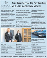 Our New Service for Key WorkersAJ LOCK A J Lock Caring Key ServiceCARING FUNERALSDuring this uncertain time, we allwant to do our best to supportour community and show ourappreciation for those key workersthat have been keeping essentialservices running.here for them and their families.The total price including all otherfees is £2000It is for this reason we have createdThis includes crematorium fee's,doctors fee's, celebrant's fees andour fees, so you have the peace ofappreciation for their efforts during a mind knowing that no additionala new service for key workersand their families, to show ourAll key workers are doing a fantastic very difficult time.job and showing amazing spirit inthese hard times.costs will be added.We are also on hand to help andadvise any who are worried aboutthe future and want to look towardsOur new service is namedThe A J Lock Caring Key ServiceKey workers are on the frontline during this pandemic, so should Specifically for this service we have a pre-paid plan.the worst happen we want to bereduced our fee's and waived others, Please stay safe and stay well,we will get through this together.AJL CFCall us Today 01934 525500 or01278 238160Visit www.AJLockfunerals.co.ukNHS staffSocial care workersSchools and NurseriesJournalistsSome government staffDelivery workersSupermarket staffArmy and MoDFirefightersPrisons andprobationTransport workersPolice officers'Infrastructure' incgas & electricSome financial servicesCourt staffReligious staff*Government's list of key workersCall us Today 01934 525500 or 01278 238160 | Visit www.AJLockfunerals.co.uk Our New Service for Key Workers AJ LOCK A J Lock Caring Key Service CARING FUNERALS During this uncertain time, we all want to do our best to support our community and show our appreciation for those key workers that have been keeping essential services running. here for them and their families. The total price including all other fees is £2000 It is for this reason we have created This includes cremat