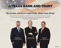 """Fort WortGran rairieMineolaancasterCantonVANLongviewHOOD BU rtLindaleHARRISONGlebTEXAS BANK AND TRUST377TyferELLISSOMELVELT67Glen Ros79AthenspeRSONHenderson""""PANOLA81Corsicana259""""We are here, and we are ready to help. Always Texas Strong.""""Hillshord84As community bankers, we acknowledge our responsibility to invest in the communities we serve with our time, talents,businesses to grow and prosper.Ce59and financial resources so that Texas remains a vibrant place for families andiCESNacegdocheSan AugustineAUGufkimHamilton84 Our call to serve has never been greater.Waco.BadILTON69GroesMESTONIarlinONCORYEL GatesvilleLEONDibollKilleen190WGELINACove69183190ROGERS POPE, JR.Vice Chairman& Chief Executive OfficerROGERS POPE, SR.Chairman of the BoardKEVIN HOODPresident& Chief Operating OfficerMEMBER FDIC Fort Wort Gran rairie Mineola ancaster Canton VAN Longview HOOD BU rt Lindale HARRISON GlebTEXAS BANK AND TRUST 377 Tyfer ELLIS SOMELVELT 67Glen Ros 79 Athens peRSON Henderson """"PANOLA 81 Corsicana 259 """"We are here, and we are ready to help. Always Texas Strong."""" Hillshord 84 As community bankers, we acknowledge our responsibility to invest in the communities we serve with our time, talents, businesses to grow and prosper. Ce 59 and financial resources so that Texas remains a vibrant place for families andi CES Nacegdoche San Augustine AUG ufkim Hamilton 84 Our call to serve has never been greater. Waco.Bad ILTON 69 Groes MESTONI arlin ON CORYEL Gatesville LEON Diboll Killeen 190 WGELINA Cove 69 183 190 ROGERS POPE, JR. Vice Chairman & Chief Executive Officer ROGERS POPE, SR. Chairman of the Board KEVIN HOOD President & Chief Operating Officer MEMBER FDIC"""
