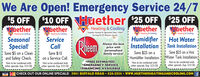 We Are Open! Emergency Service 24/7$10 OFF Huether 25 OFF 25 OFFHuetherHumidifier Hot WaterInstallation Tank Installation$5 OFFHuetherHuetherHeating & CoolingV Heating & CoolingHuetherFamily Owned & Operated Since 1969Heating & CoolingHeating & CoolingHeating & CoolingSeasonalSpecial!Save $5 on a Cleanand Safety Check.Serving All Of Monroe CountyServiceAlways the bestprice withpersonalizedfamily service!CallSave $25 on a HotHumidifier Installation. Water Tank Installation.!Not to be combined withother specials. Exp. 5/31/20.Save $25 on aSave $10on a Service Call.Not to be combined withother specials. Exp. 5/31/20.*FREE ESTIMATES!*EMERGENCY SERVICE*FINANCING AVAILABLE|CHECK OUT OUR ONLINE SPECIALS! 3041 BUFFALO ROAD  426-2034  wwW.HUETHERHEATINGANDCOOLING.COM FNot to be combined withother specials. Exp. 5/31/20.other specials. Exp. 5/31/20.VIS We Are Open! Emergency Service 24/7 $10 OFF Huether 25 OFF 25 OFF Huether Humidifier Hot Water Installation Tank Installation $5 OFF Huether Huether Heating & Cooling V Heating & Cooling Huether Family Owned & Operated Since 1969 Heating & Cooling Heating & Cooling Heating & Cooling Seasonal Special! Save $5 on a Clean and Safety Check. Serving All Of Monroe County Service Always the best price with personalized family service! Call Save $25 on a Hot Humidifier Installation. Water Tank Installation.! Not to be combined with other specials. Exp. 5/31/20. Save $25 on a Save $10 on a Service Call. Not to be combined with other specials. Exp. 5/31/20. *FREE ESTIMATES! *EMERGENCY SERVICE *FINANCING AVAILABLE |CHECK OUT OUR ONLINE SPECIALS! 3041 BUFFALO ROAD  426-2034  wwW.HUETHERHEATINGANDCOOLING.COM F Not to be combined with other specials. Exp. 5/31/20. other specials. Exp. 5/31/20. VIS