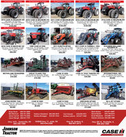 """0% Financing for 12 months!0% Financing for 12 months!0% Financing for 12 months!0% Financing for 12 months!0% Financing for 12 months!2014 CASE IH MAGNUM 2501430 hours, 18.4-46 Duals, 3Pt.540/1000/1000 PTO, GuidanceComplete, Luxury$121,5002015 CASE IH MAGNUM 340 2019 CASE IH MAGNUM 310 2011 CASE IH MAGNUM 290 2015 CASE IH MAGNUM 2801345 hours, 184-50 Duals,255 Hours, 18.4-50 Duals. Suspended2015 hours, 18.4-46 Duals, Fri Dis.3PI, 540/1000 PTO, Guidance Ready.Luxury, 4 Valves$129,5001515 hours, 18.4-50 Duals, Frt Dis,Guidance Rdy, 3PI, 1000 PTO, 6Valves, Luxury$129,500Suspended Ft Axle wiDis, Guidance Frt Axle w Dis. Guidance Complete,Complete, 3PI, Luxury Cab$159,5000% Financing for 12 months!3PI, 540/1000/1000 PTO$236,5002018 CASE IH MAXXUM 125200 hours, 18.4-42 Singles, 16 SpdPartial Powershift, 3PL 540/1000PTO, 4 Valves$84,5002011 CASE IH FARMALL 105U4160 hours, 18.4-34 Singles, 24 SpdW/Power Shuttle, Quicke Ldr wi QTBucket, 3PI, 540/1000 PTO, 2 Valves Loader, Hydro Trans w/ 3 Ranges, 3Pt.2018 NEW HOLLANDBOOMER 5595 hours, R4 Tires, Cab w H&AC.1986 CASE IH 20962011 KUBOTA M70405705 hours, 184-38 Singles, 12 Spd 1190 hours, R4 Tires. Cab w H&AC.Partial Powershift, 3Pt, 540/1000PTO, 2 Valves$19,50012 Spd wi Power Shuttle, 3Pt, 540PTO, 2 Valves$28,500$29,500540 PTO, 2 Valves$39,500MCFARLANE RD4020RB620', Folding$19,500GREAT PLAINS 755252' Double Fold Discovater, StraightFrt Discs, 'S' Tine Shanks, Spike Drag$19,500CASE IH 420026', Cushion Frt Disk Gang, 5 BarSpike Drag$9,900CASE IH TRUE TANDEM 34528', Cushion Gang, 9 Spacing$39,500INTERNATIONAL 49022, 7.5"""" Spacing, Non-CushionGangs, Remlinger 5-Bar Spike Drag$4,900JOHN DEERE 722012-30"""" Hyd Wing Fold. Trash Wheels, 30 Pull-Type. 7.5 Spacing, 1"""" PressInsecticide. Vaccum, 200 Monitor,Maxemerg II$9,900CASE IH 530021 x 7.5 Spacing. End Wheel PullType. Grass Seeder. Press Wheels$9,950GREGSON GP1000320-38 Singles, 1000 Poly Tank, 60Boom. Raven 440 Monitor, HydraulicDrive, Foam Markers, Adjustable Axle$13,900CASE IH 5500Wh"""