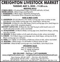 CREIGHTON LIVESTOCK MARKETMAY 5, 2020 - 11:30 a.m.BREEDING BULLSTUESDAY,O'BRIEN BROS: 4 Purebred Black Angus 18 month old bulls, Al SiredDOERR ANGUS: 3 Black Angus yearling bullsJ. WURDEMAN: 2 Black Angus registered yearling bullsJ. HANZLIK: 2 Simmental-Simm composite yearling bullsPAIRS & BRED COWSS. ANDERSON: 85 (65) Black & a few baldy running age cows w/calves at side(20) Black & a few baldy running age cows, bred Angus, calving nowL. SPANGLER: 40 Black & a few Red Angus 2nd & running age cows, bred Angus orCharolais, calve 8-28, complete dispersalASCHOFF CATTLE CO: 30 Black & a few Red Young to solid mouth cows w/2month old calves at side, calves vaccinatedA. SCHLEUSENER: 25 Black & Baldy running age cows, bred Simm-Angus, calvingnow thru summerD. RENNER: 20 Black heifers w/6-8 week old calves at side, calves vaccinatedS. STROPE: 10 (7) Black Angus running age cows, bred Angus, calving now & (3)Black running age cow-calf pairsR. SIEKE: 9 F-1 Baldy 1st calf heifers w/February calves at side, calves vaccinatedG. WOSTREL: 5 Black Angus 1st calf heifers w/March calves at sideB. STEFFEN: 4 Black & Red running age cows, bred Black, calve May & JuneUPCOMING SALESMay 12: Feeder Calf SaleMay 19: Weigh Up SpecialMay 26: No Sale402-358-3449 Toll Free 1-877-SALEBARNwww.creightonlivestock.com  creightonlivestockmarket@hotmail.comRyan Creamer, 402-841-5693  Dick Suhr, 402-358-0269Keith Saathoff, 402-841-6795  Harlan King, 402-640-4774Joel Kumm, 402-992-0678 Jamie Curtis, 402-209-6107 Mike Kumm, 402-394-1118152428 CREIGHTON LIVESTOCK MARKET MAY 5, 2020 - 11:30 a.m. BREEDING BULLS TUESDAY, O'BRIEN BROS: 4 Purebred Black Angus 18 month old bulls, Al Sired DOERR ANGUS: 3 Black Angus yearling bulls J. WURDEMAN: 2 Black Angus registered yearling bulls J. HANZLIK: 2 Simmental-Simm composite yearling bulls PAIRS & BRED COWS S. ANDERSON: 85 (65) Black & a few baldy running age cows w/calves at side (20) Black & a few baldy running age cows, bred Angus, calving now L. SPANGLER: 40 Bla