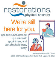 restorations.physical therapyWe're stillhere for you.Call 412-206-9202 to setup a telehealthappointment, andstart physical therapytoday.www.RestorationsPT.com2600 Old Washington Rd, Suite 250, Upper St Clair restorations. physical therapy We're still here for you. Call 412-206-9202 to set up a telehealth appointment, and start physical therapy today. www.RestorationsPT.com 2600 Old Washington Rd, Suite 250, Upper St Clair