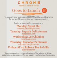 CHROMEFEDERAL CREDIT UNIONGoes to LunchTo support local businesses, CHROME will be providing lunchfor our staff from a restaurant in our community.Our local favorites for this week are:Monday: Sweet Hutsweethutwashington.comTuesday: Zuppa's Delicatessenzuppasdeli.comWednesday: Los Chiludosloschiludos.comThursday: Pomodoro's Pizzariamypomodoropizza.comFriday: Al' an Ruben's Bar & Grillealanrubens.netWe encourage others to take advantage of the takeout or deliveryoptions these restaurants offer and support your hometown businesses. CHROME FEDERAL CREDIT UNION Goes to Lunch To support local businesses, CHROME will be providing lunch for our staff from a restaurant in our community. Our local favorites for this week are: Monday: Sweet Hut sweethutwashington.com Tuesday: Zuppa's Delicatessen zuppasdeli.com Wednesday: Los Chiludos loschiludos.com Thursday: Pomodoro's Pizzaria mypomodoropizza.com Friday: Al' an Ruben's Bar & Grille alanrubens.net We encourage others to take advantage of the takeout or delivery options these restaurants offer and support your hometown businesses.