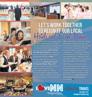 LET'S WORK TOGETHERTO REIGNITE QUR LACALHotels adEieat Venneso thank all the businesses who When the time is right, let's helpI have supported us, it's timewe give back! Let's ease back into event venues by planning a familytravel by vacationing locally thisseason and show some LOVEfor Newport News by thinkingof ways to support our region'shospitality partners first!our hotels, motels and specialor romantic staycation. Maybeyou could plan a meeting orconference, or perhaps a familyor military reunion. Think of yournext celebration, whether it be abirthday, wedding, or anniversary,the possibilities are limitless.As we celebrate the Spirit ofTravel during National Travel& Tourism Week, May 3-9,take some time to think aboutWe'd like you to share someof your Newport News plansby participating in our Spirit ofTravel Facebook contest. Prizewhere you'll go to showyour appreciation for all theentertainment, lodging, dining,and recreation options found here May 4-8. Visit www.facebook.in Newport News and regionally.packages will be awarded daily,com/newportnewsvirginia/for details.Spiritef TRAVEL%23757.886.7777Newport Newsnewport-news.orgin Coastal Virginia LET'S WORK TOGETHER TO REIGNITE QUR LACAL Hotels ad Eieat Vennes o thank all the businesses who When the time is right, let's help I have supported us, it's time we give back! Let's ease back into event venues by planning a family travel by vacationing locally this season and show some LOVE for Newport News by thinking of ways to support our region's hospitality partners first! our hotels, motels and special or romantic staycation. Maybe you could plan a meeting or conference, or perhaps a family or military reunion. Think of your next celebration, whether it be a birthday, wedding, or anniversary, the possibilities are limitless. As we celebrate the Spirit of Travel during National Travel & Tourism Week, May 3-9, take some time to think about We'd like you to share some of your Newport News plans by participating in our 
