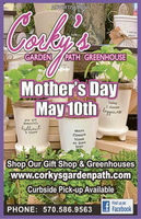 ADVERTISEMENTI wet yplantsGARDENPATH GREENHOUSEAL myMother's DayMay 10thtodayI choosehoappinessyou arepowerful,hilliantwhereflowersbloomso doeshope& braveShop Our Gift Shop & Greenhouseswww.corkysgardenpath.comCurbside Pick-up AvailableFind us onPHONE: 570.586.9563Facebook ADVERTISEMENT I wet y plants GARDEN PATH GREENHOUSE AL my Mother's Day May 10th today I choose hoappiness you are powerful, hilliant where flowers bloom so does hope & brave Shop Our Gift Shop & Greenhouses www.corkysgardenpath.com Curbside Pick-up Available Find us on PHONE: 570.586.9563 Facebook
