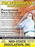 PROFESSIONALHOME INSULATIONPOLYURETHANESPRAY INSULATIONfor vaulted ceilings, walls andrim joist of new homes. Also polebarns, metal buildings & shops,Reap the benefits of lowerheating and cooling bills,moisture control, structuralrigidity and reduced outside noise.HIGH DENSITY BLOWN IN FIBERGLASSinsulation for atticsmidstateinsulation.comEmail: midstateinsulation@unitelc.comPark Rapids (218) 732-7036 (800) 642-4101RAYIN BUSINESSNAGLE MID-STATE SINCE 1976INSULATION, INC PROFESSIONAL HOME INSULATION POLYURETHANE SPRAY INSULATION for vaulted ceilings, walls and rim joist of new homes. Also pole barns, metal buildings & shops, Reap the benefits of lower heating and cooling bills, moisture control, structural rigidity and reduced outside noise. HIGH DENSITY BLOWN IN FIBERGLASS insulation for attics midstateinsulation.com Email: midstateinsulation@unitelc.com Park Rapids (218) 732-7036 (800) 642-4101 RAY IN BUSINESS NAGLE MID-STATE SINCE 1976 INSULATION, INC