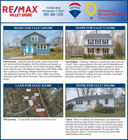RE/MAX103 Main StreetRE/MAXChildren'sMiracle NetwonkHospitalsOld Saybrook, CT 06475860-388-1228VALLEY SHOREHOME FOR SALE! $439,900HOME FOR SALE! $ 214,900Old Saybrook - Light filled open floor plan, custom built kitchen,new hardwood floors throughout, first floor bedroom and laundry, aswell as new septic system and new roof on house and garage. Brightmaster bedroom suite with cathedral ceiling and en suite double vanity floor. Newer boiler and roof.- Living/Dining room has nice brickbath. Central air conditioning. Partially finished basement studioadds additional living area for an office /gym/ hobby room. Nicelylandscaped yard with a private back patio. One car oversized detached good price, good shape, ready to move in!garage.East Haddam - Chaming 3 bedroom Colonial with a great yard witha brook. There is great potential in the back yard for landscaping andrelaxing at the brook. Úpdated kitchen with SS appliances and woodchimney and wood floors. Updated full bath with tile floor. Walk outbasement with room for working out room or an office. Cute house,LAND FOR SALE! $24,900HOME FOR SALE! $254,90034547221750464 346Eastwood RdOld Saybrook - 2.9 acre lightly wooded lot not far from town!Clinton - Move in condition, easy maintenance year-round homewith new natural gas heat (Navien Fumace & on demand hot water),refinished and new hardwood floors, new over-sized two-bay garage,new bath, new decks, new granite counters, & new paved driveways.Open floor plan, light bright and beautiful! The rear yard is fullyfenced and level, there is a hot tub that will stay and a pretty littlestudio building with electricity.Connaily Dr RE/MAX 103 Main Street RE/MAX Children's Miracle Netwonk Hospitals Old Saybrook, CT 06475 860-388-1228 VALLEY SHORE HOME FOR SALE! $439,900 HOME FOR SALE! $ 214,900 Old Saybrook - Light filled open floor plan, custom built kitchen, new hardwood floors throughout, first floor bedroom and laundry, as well as new septic system and new roof on house and garage. Bright master bedroom suite with cathedral ceiling and en suite double vanity floor. Newer boiler and roof.- Living/Dining room has nice brick bath. Central air conditioning. Partially finished basement studio adds additional living area for an office /gym/ hobby room. Nicely landscaped yard with a private back patio. One car oversized detached good price, good shape, ready to move in! garage. East Haddam - Chaming 3 bedroom Colonial with a great yard with a brook. There is great potential in the back yard for landscaping and relaxing at the brook. Úpdated kitchen with SS appliances and wood chimney and wood floors. Updated full bath with tile floor. Walk out basement with room for working out room or an office. Cute house, LAND FOR SALE! $24,900 HOME FOR SALE! $254,900 345 472 217 50 464 346 Eastwood Rd Old Saybrook - 2.9 acre lightly wooded lot not far from town! Clinton - Move in condition, easy maintenance year-round home with new natural gas heat (Navien Fumace & on demand hot water), refinished and new hardwood floors, new over-sized two-bay garage, new bath, new decks, new granite counters, & new paved driveways. Open floor plan, light bright and beautiful! The rear yard is fully fenced and level, there is a hot tub that will stay and a pretty little studio building with electricity. Connaily Dr