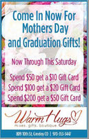 Come In Now ForMothers Dayand Graduation Gifts!Now Through This SaturdaySpend $50 get a $10 Gift CardSpend $100 get a $20 Gift CardSpend $200 get a $50 Gift CardWarmt lugsmixes. gifts. boutique.809 10th St, Greeley CO | 970-353-3447 Come In Now For Mothers Day and Graduation Gifts! Now Through This Saturday Spend $50 get a $10 Gift Card Spend $100 get a $20 Gift Card Spend $200 get a $50 Gift Card Warmt lugs mixes. gifts. boutique. 809 10th St, Greeley CO | 970-353-3447