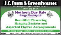 J.. Farm & Greenhouses385r Wallingford Rd. (Rt. 68) Durham, CT 06422(860) 349-5649Mother's Day SaleLarge Variety ofBeautiful FloweringHanging Baskets andAssorted Flower ArrangementsWe carry a large variety of perennials & shrubsOpen 7 Days a Week  Mon-Sat 9am-6pm, Sun 9am-5pmVISA teCad229960 J.. Farm & Greenhouses 385r Wallingford Rd. (Rt. 68) Durham, CT 06422 (860) 349-5649 Mother's Day Sale Large Variety of Beautiful Flowering Hanging Baskets and Assorted Flower Arrangements We carry a large variety of perennials & shrubs Open 7 Days a Week  Mon-Sat 9am-6pm, Sun 9am-5pm VISA teCad 229960