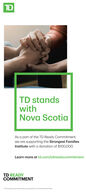 TDTD standswithNova ScotiaAs a part of the TD Ready Commitment,we are supporting the Strongest FamiliesInstitute with a donation of $100,00o.Learn more at td.com/tdreadycommitmentTD READYCOMMITMENTThe TO oga and oher odeeopety ot The Torormto-Dominion lork TD TD stands with Nova Scotia As a part of the TD Ready Commitment, we are supporting the Strongest Families Institute with a donation of $100,00o. Learn more at td.com/tdreadycommitment TD READY COMMITMENT The TO oga and oher ode eopety ot The Torormto-Dominion lork