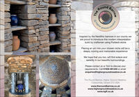 RoundgroundInspired by the Neolithic barrows in our county weare proud to introduce this modern interpretationbuild by craftsmen using Purbeck stonePlacing an urn into your chosen niche will be adeeply moving and memorable experienceWe hope that you too, will find solace andserenity in our beautiful surroundingsPlease contact Jo or Tom to discuss yourrequirements. Call 01935 891245 or emailenquiries@highergroundmeadow.co.ukThe Round Barrow, Higher Ground Meadow,Corscombe, Dorset DT2 0QNwww.theroundbarrow.co.ukwww.highergroundmeadow.co.ukwww.hgff.co.ukBarrowMopeau@higher greThe Round ground Inspired by the Neolithic barrows in our county we are proud to introduce this modern interpretation build by craftsmen using Purbeck stone Placing an urn into your chosen niche will be a deeply moving and memorable experience We hope that you too, will find solace and serenity in our beautiful surroundings Please contact Jo or Tom to discuss your requirements. Call 01935 891245 or email enquiries@highergroundmeadow.co.uk The Round Barrow, Higher Ground Meadow, Corscombe, Dorset DT2 0QN www.theroundbarrow.co.uk www.highergroundmeadow.co.uk www.hgff.co.uk Barrow Mopeau @higher gre The